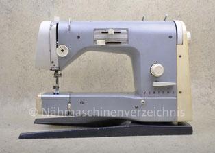 Veritas 8015-2 (zwei Versionen, siehe Text), Zickzack-Freiarm-Haushaltsnähmaschine mit Einbaumotor, Hersteller: VEB Nähmaschinen Werk Wittenberge (Bilder: Nähmaschinenverzeichnis und H. Chemnitzer)
