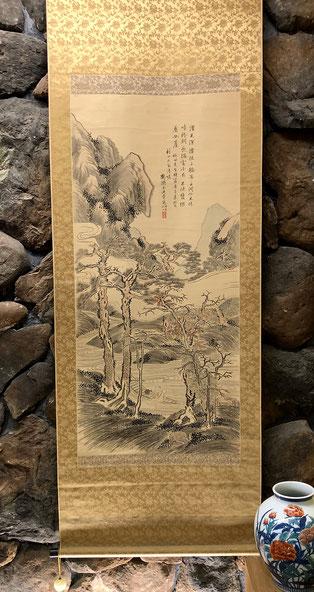 王帝章 作、竹田の「足洗い」の写し。村田大翁の為、という為書きがされている。