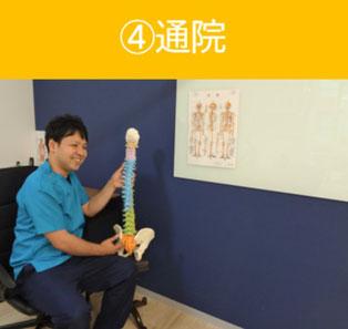 骨盤模型で症状を説明している