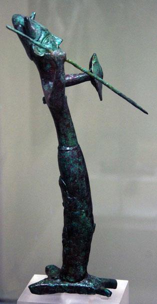 Bearded god in horned helmet standing on bronze ingot, Enkomi Late Cypriot 1230-1050BC : Cyprus Museum