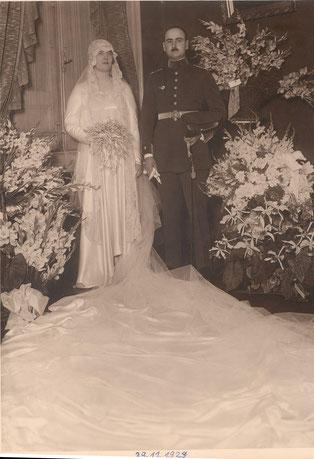 Bertha-Joaquina Jiménez Durand y-Miguel-Joaquín Castex Lainfor el día de su boda el 29 de noviembre de 1929
