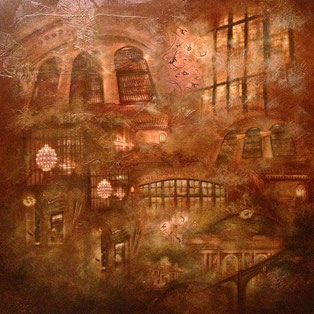 Grand Central Station / Mixed media on wood panel/ 48 x 48 inches