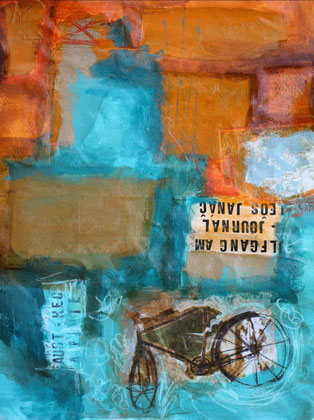 """My Old Bike"" / Mixed media on canvas / 35 x 44 inches"