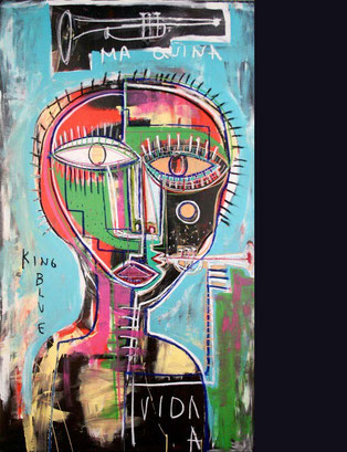 Miles Davis / Mixded media (acrylic, oil) stick on panel / 84 x 48 inches