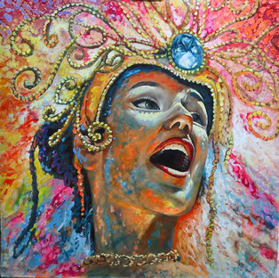 Reina del carnaval / oil on canvas / 39.3 x 39.3 inches