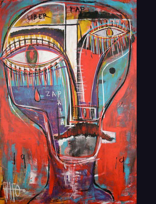 Emiliano Zapata / Mixed media (acrylic, oil) sticks on panel / 72 x 48 icnes