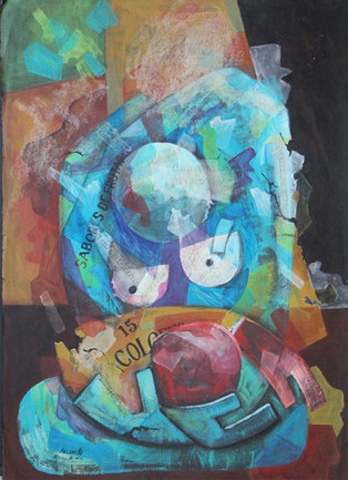 Maternidad de la calle / Acrilico sobre cartoncillo / 27 x 20 inches