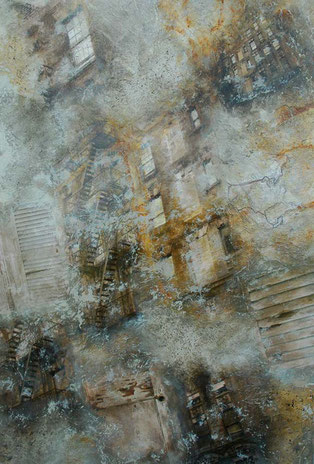 Beyond Time / Mixed Media on wood panel / 48 x 32 inches