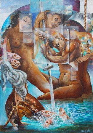 Pescadores / Acrylic on canvas / 48 x 33 inches