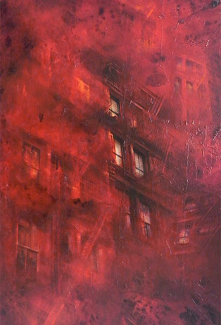 Red / Mixed Media on wood panel / 48 x 32 inches