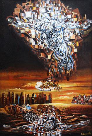 Cristo de la bahia / Mixed media on canvas / 48 x 34 inches