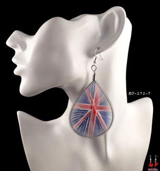 Boucles d'oreilles créoles pendantes fils drapeau anglais