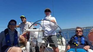 équipage en navigation dans le cockpit d'un voilier