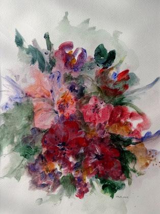 """Nr. 40 / WALTRAUD MUTH / """"Blumen"""" Mischtechnik auf Papier, 40x50cm, 120,-€"""