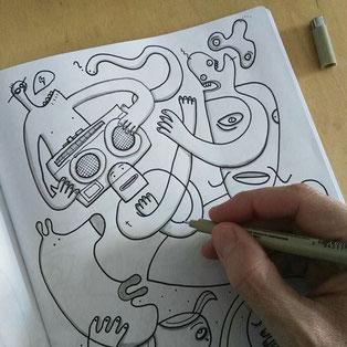 Illustration fliegender Figuren, mit DJ und Ghettoblaster - Blick ins Skizzenbuch von Frank Schulz Art