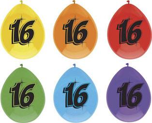 """Ballonnen """"16"""" 6 stuks € 2,25"""