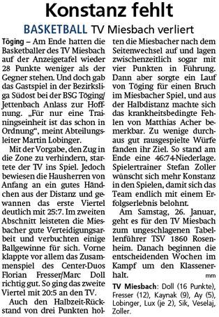 Bericht im Miesbacher Merkur am 22.1.2019 - Zum Vergrößern klicken