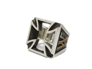 WEIRDO CROSS RING 925 BRASS
