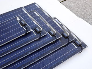 Simply stick on solar panels without frames. These solar panels have passed all tests. Unframed solar panels are ideal for mobile use on campers, off-road vehicles, vans, camping buses, panel vans, sailing boats and yachts.