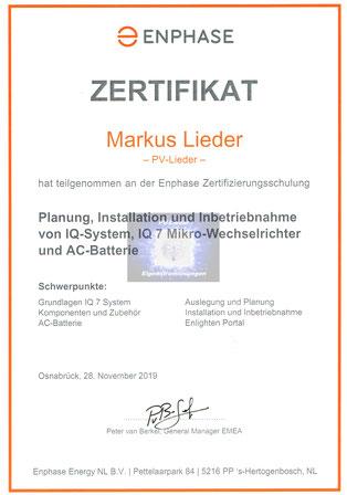 PV-Lieder, Eigenstromlösungen, Markus Henry Lieder, ENPHASE Zertifikat IQ-System