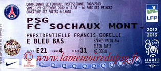 Ticket  PSG-Sochaux  2012-13