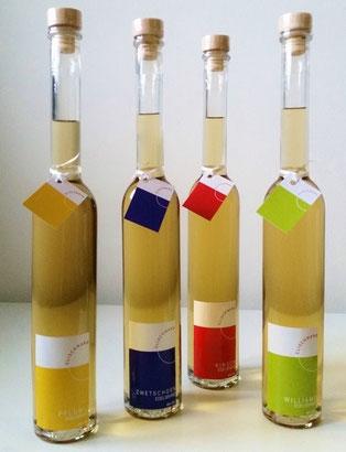 Unsere vier verschiedenen Fruchtdestillate sind Williams, Zwetschgen, Plümli und Kirsch