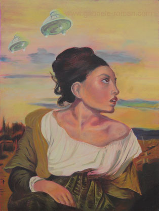 """""""The orphan in the cemetry"""" is a hommage to Eugéne Delacroix. A sitting girl is frontally displayd. She turns her head with surprise to the right. Behind her are ufos in the sky."""