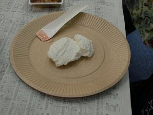 出来上がったチーズ。