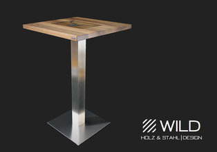 Stainless steel bar table in robust construction for outdoor use