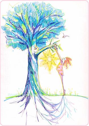 severine saint-maurice, les cercles de lumiere, illustration bien-être, dessin bien -être, dessin spiritualité, vente achat dessin peinture, oeuvre originale, illustration enfant, papier canson, arbre, gaia, enfant, soleil