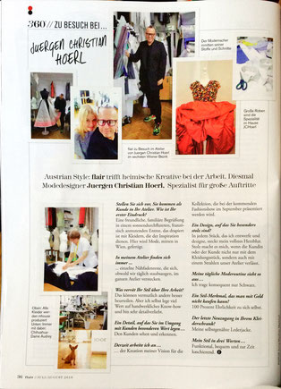 What a lovely visit by FLAIR magazine JCH Designer Fashion Juergen Christian Hoerl