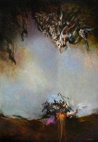 La chute acrylique sur toile dim 130cmx89cm