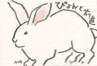 ウサギ ぴょんと前進