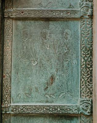 Détail de la porte représentant Bohémond, Roger et Bohémond III.