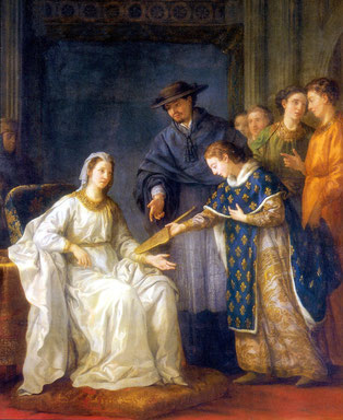 Louis IX, roi de France, remettant la régence a sa mère Blanche de Castille par Joseph-Marie Vien.