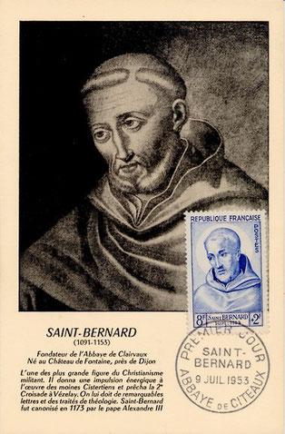 Le  dernier timbre émis en l'honneur de Saint Bernard de Clairvaux date du 09 juillet 1953.