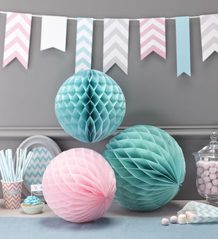 BOULES ALVEOLES PASTELS DECO ANNIVERSAIRE- PASTEL PARTY DECORATION