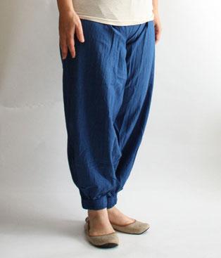 ヂェン先生の日常着 バルーンパンツスリム ブルー