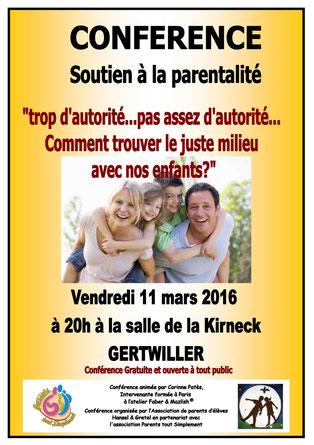 Conférence du 11 Mars 2016 Soutien à la parentalité Gertwiller