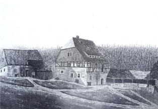 Bild: Teichler Wünschendorf Erzgebirge Klatschmühle Lautenbachtal 1860