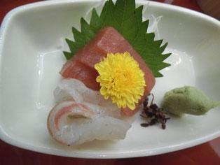 梶木マグロと鯛のお刺身