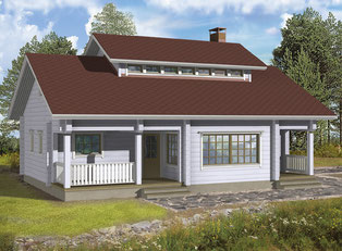 Singlehaus Müritz 75 - Holzhaus - Blockhäuser zum Wohnen - Wohnhaus mit  Satteldach