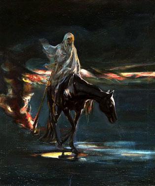 Le 3ème cavalier de l'Apocalypse chevauche un cheval noir, symbolisant la famine, la misère, le malheur, les inquiétudes, la tristesse et la mort. Apocalypse 6 :5.