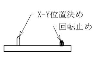 ピンはX-Y位置決めピンを長くします。