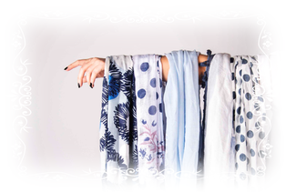 Schal, Accessoires, blau weiß, Trend, Loop