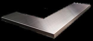 Encimera de acero inoxidable para esquina o con forma de L