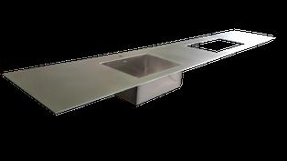 encimera de acero inoxidable de 5mm maciza o macizo con fregadero y hueco de placa