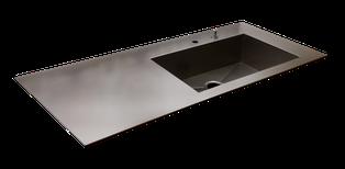 Encimera fina de 5mm de grueso de acero inoxidable con fregadero en una pieza