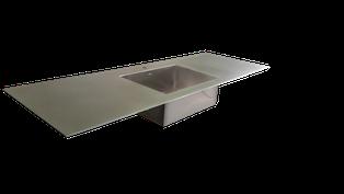encimera de acero inoxidable macizo o maciza de 5mm de grueso con fregadero soldado en una sola pieza