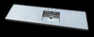 Encimera de acero inoxidable de diseño con fregadero blanco